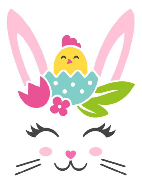 Easter Bunny Faces with Arrow SVG
